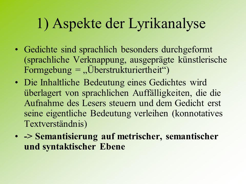 1) Aspekte der Lyrikanalyse