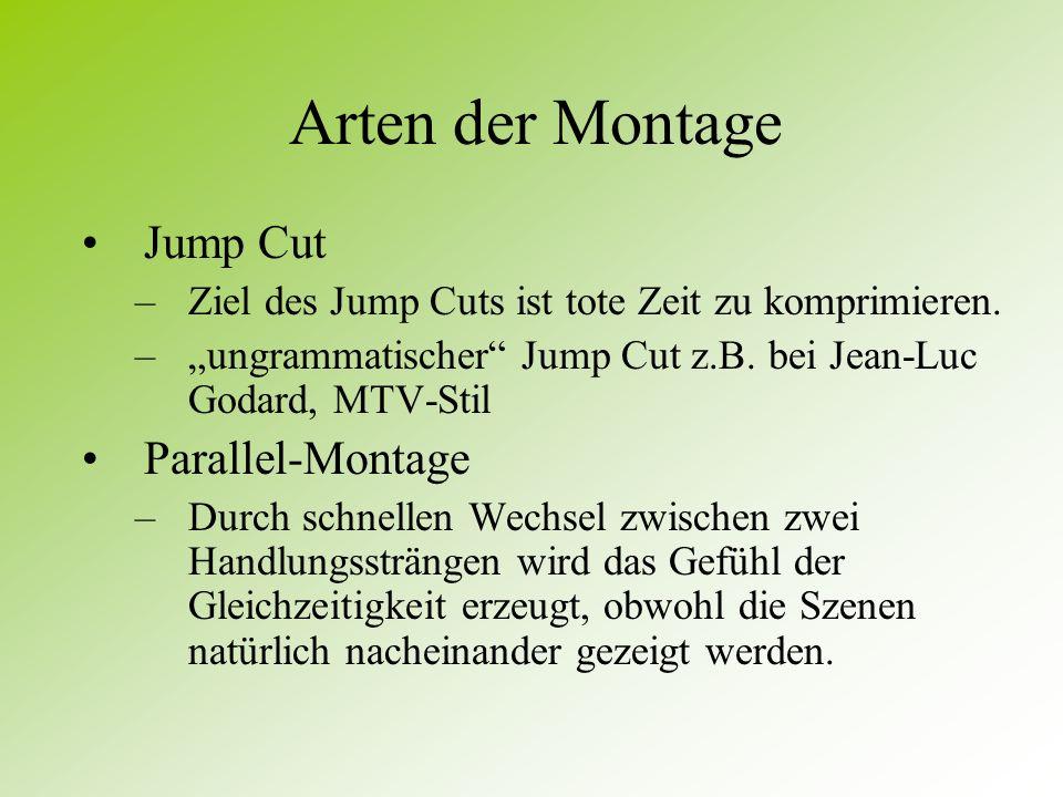 Arten der Montage Jump Cut Parallel-Montage