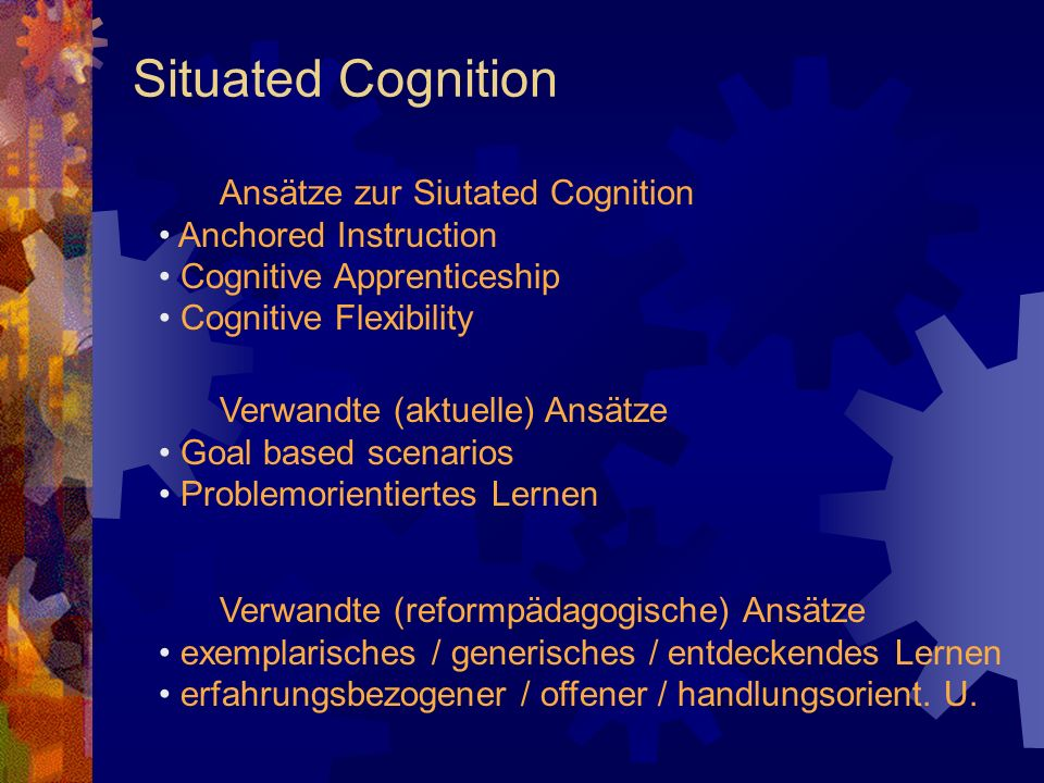 Situated Cognition Ansätze zur Siutated Cognition Anchored Instruction