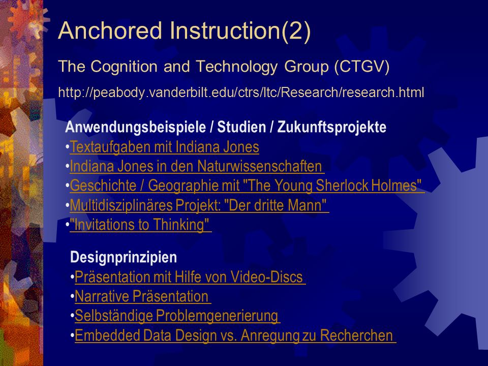 Anchored Instruction(2) The Cognition and Technology Group (CTGV) http://peabody.vanderbilt.edu/ctrs/ltc/Research/research.html