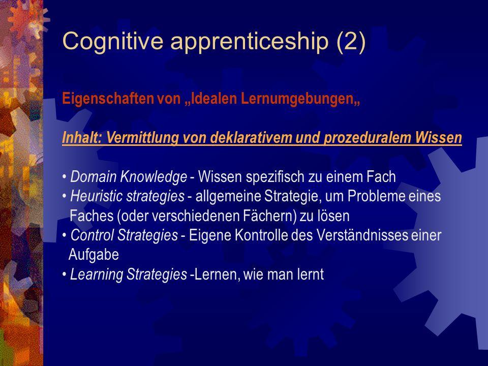 Cognitive apprenticeship (2)