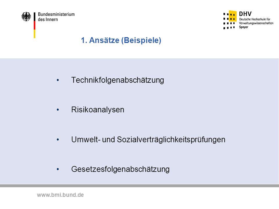 1. Ansätze (Beispiele) Technikfolgenabschätzung. Risikoanalysen. Umwelt- und Sozialverträglichkeitsprüfungen.