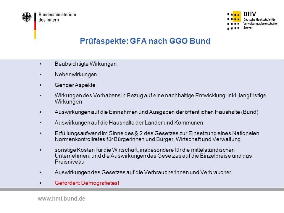 Prüfaspekte: GFA nach GGO Bund