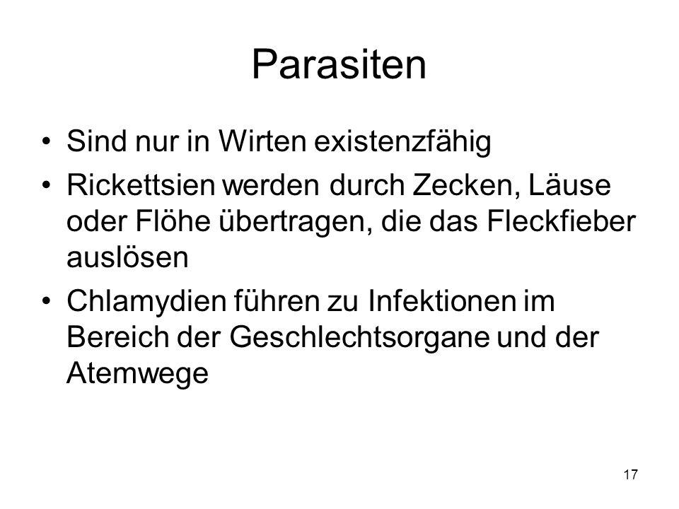 Parasiten Sind nur in Wirten existenzfähig