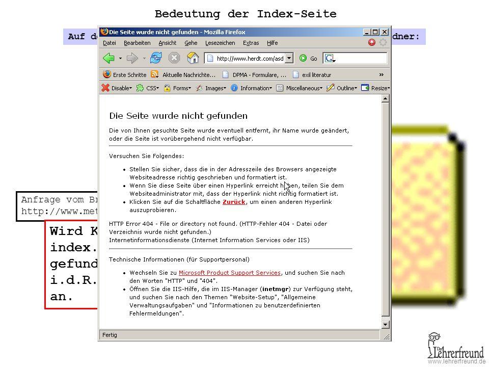 Wird KEINE Seite namens index.htm oder index.html