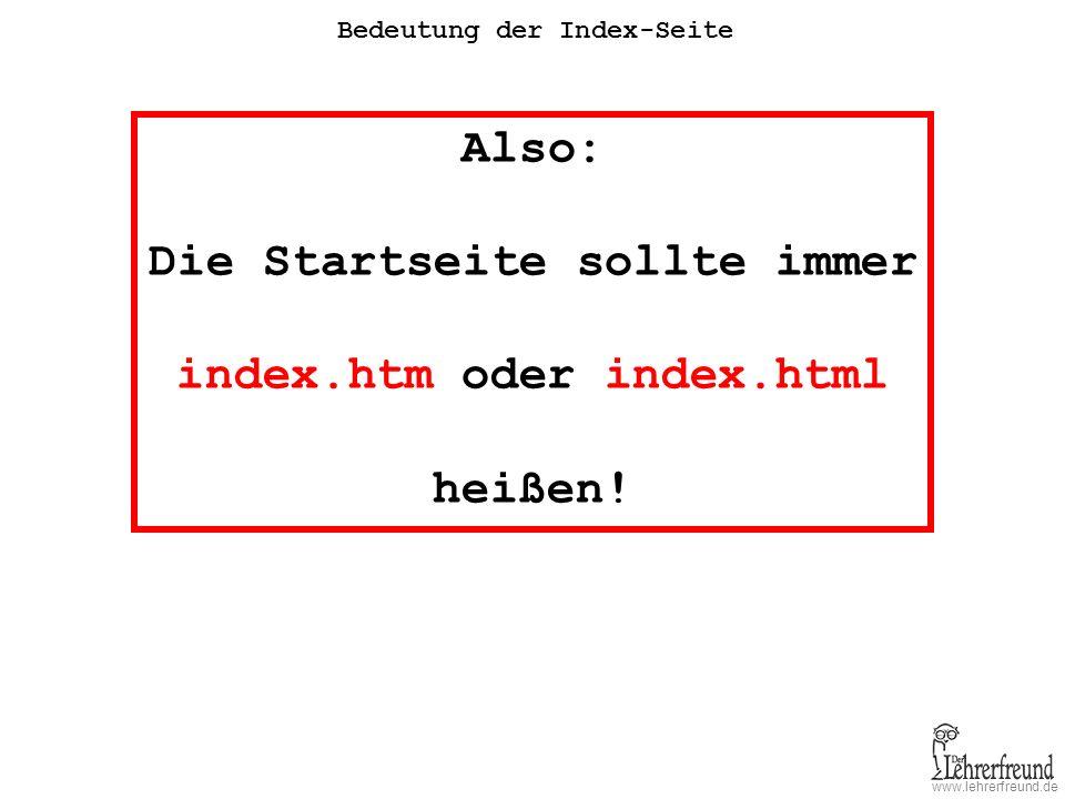 Die Startseite sollte immer index.htm oder index.html