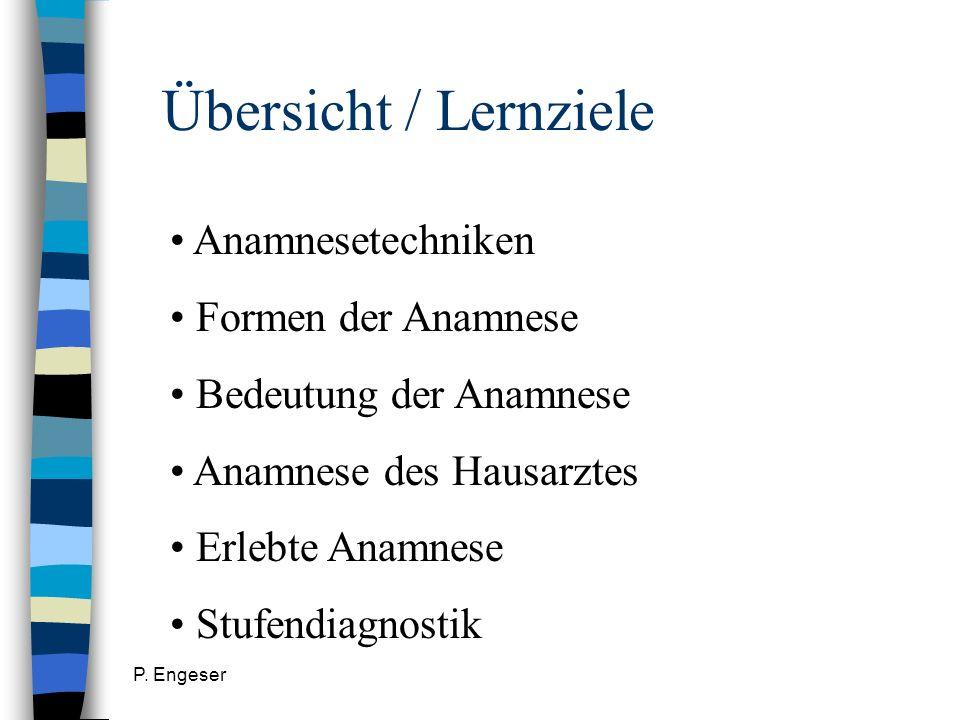 Übersicht / Lernziele Anamnesetechniken Formen der Anamnese