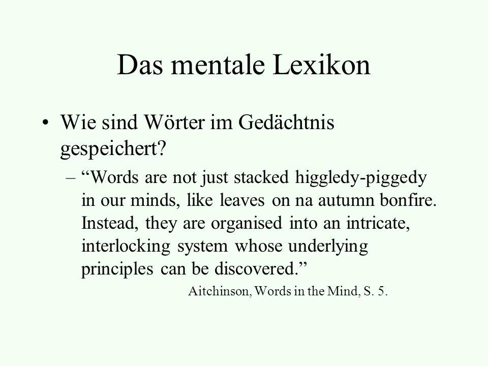 Das mentale Lexikon Wie sind Wörter im Gedächtnis gespeichert
