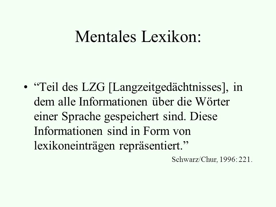 Mentales Lexikon: