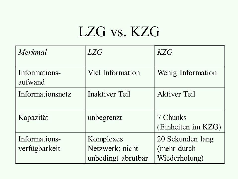 LZG vs. KZG Merkmal LZG KZG Informations-aufwand Viel Information