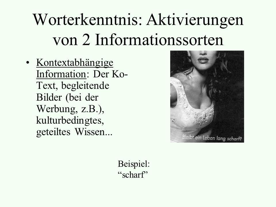 Worterkenntnis: Aktivierungen von 2 Informationssorten