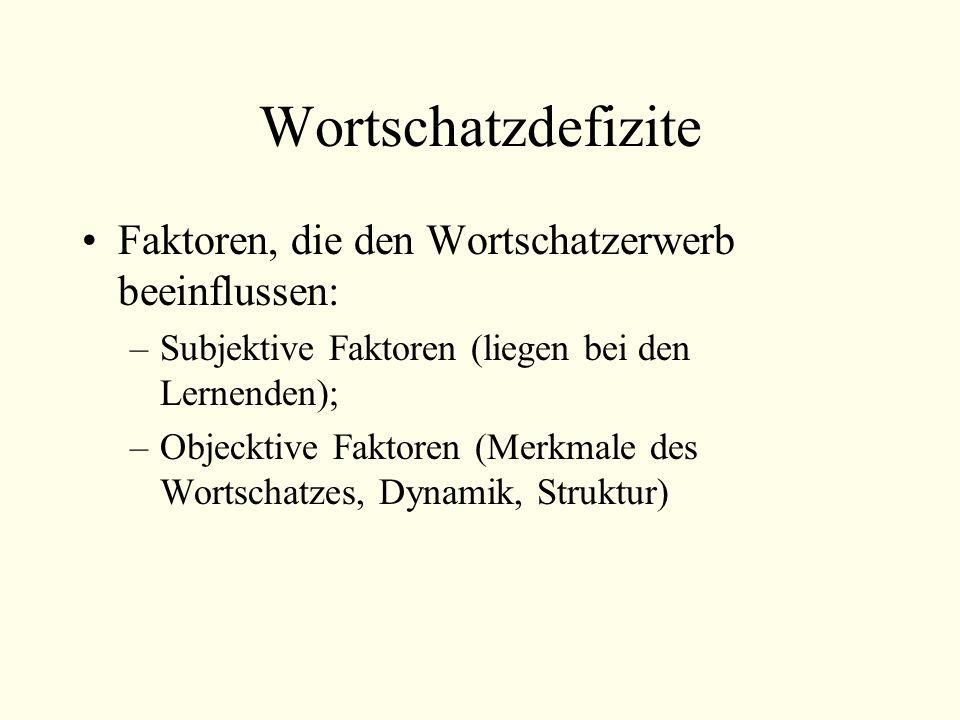 Wortschatzdefizite Faktoren, die den Wortschatzerwerb beeinflussen: