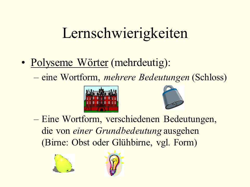 Lernschwierigkeiten Polyseme Wörter (mehrdeutig):