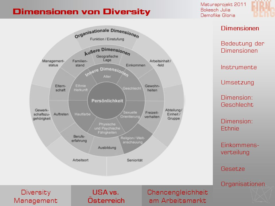 Dimensionen von Diversity