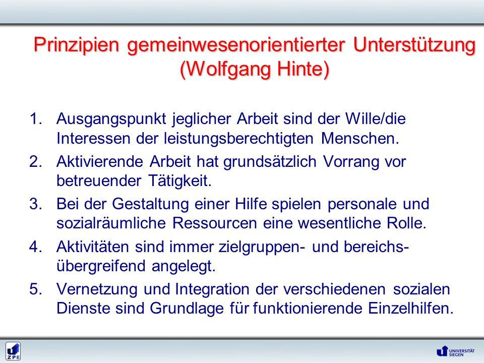 Prinzipien gemeinwesenorientierter Unterstützung (Wolfgang Hinte)
