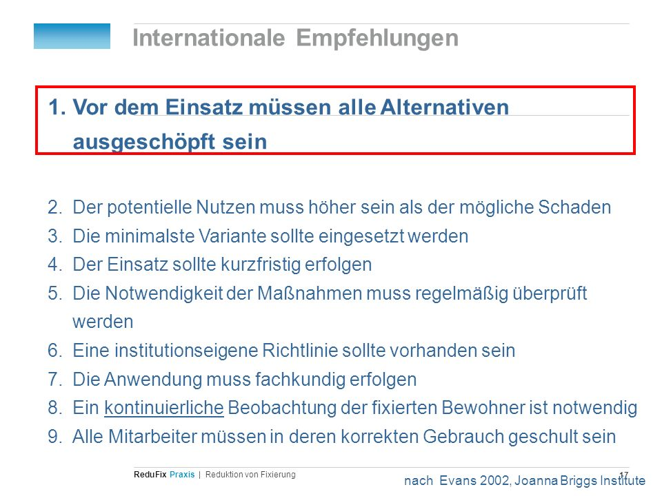 Internationale Empfehlungen