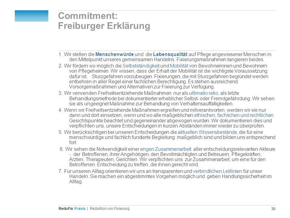 Commitment: Freiburger Erklärung