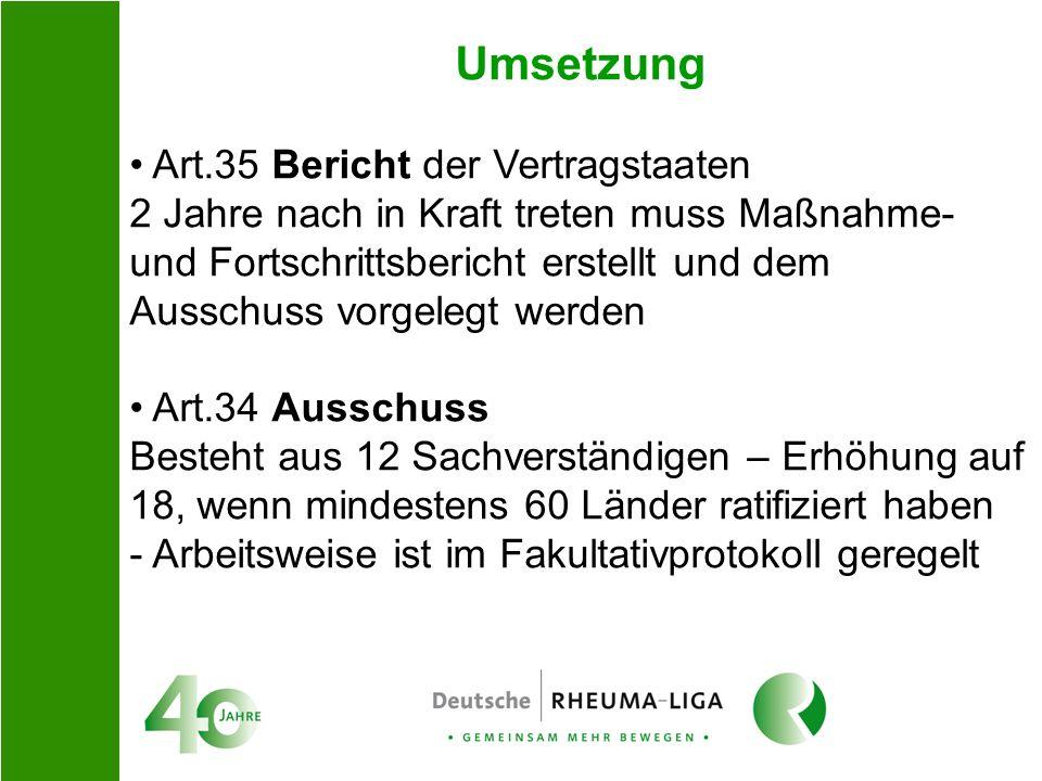Umsetzung Art.35 Bericht der Vertragstaaten