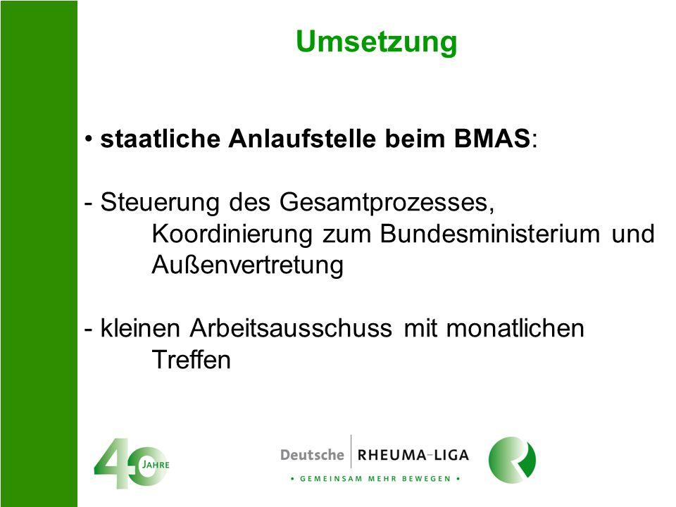 Umsetzung staatliche Anlaufstelle beim BMAS: