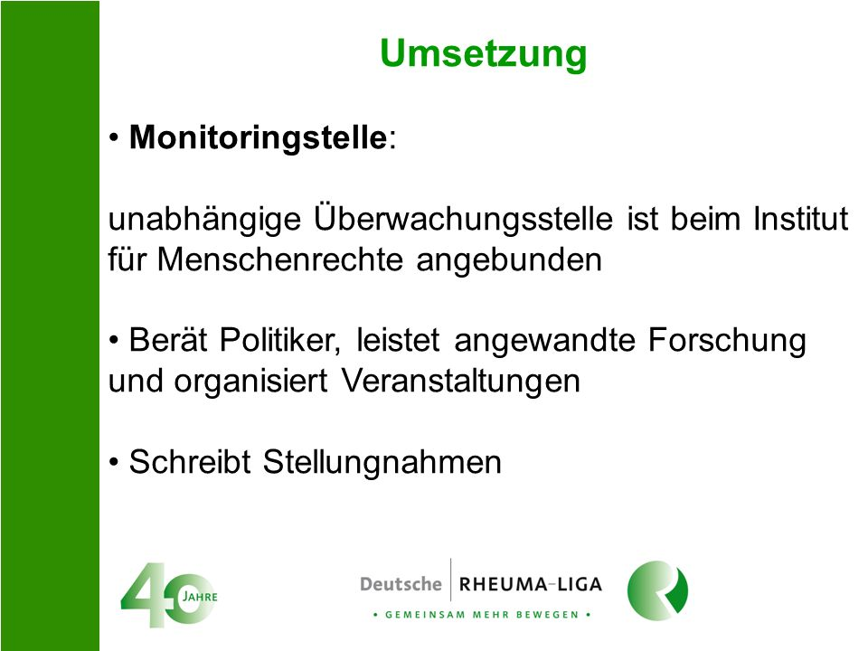 Umsetzung Monitoringstelle: