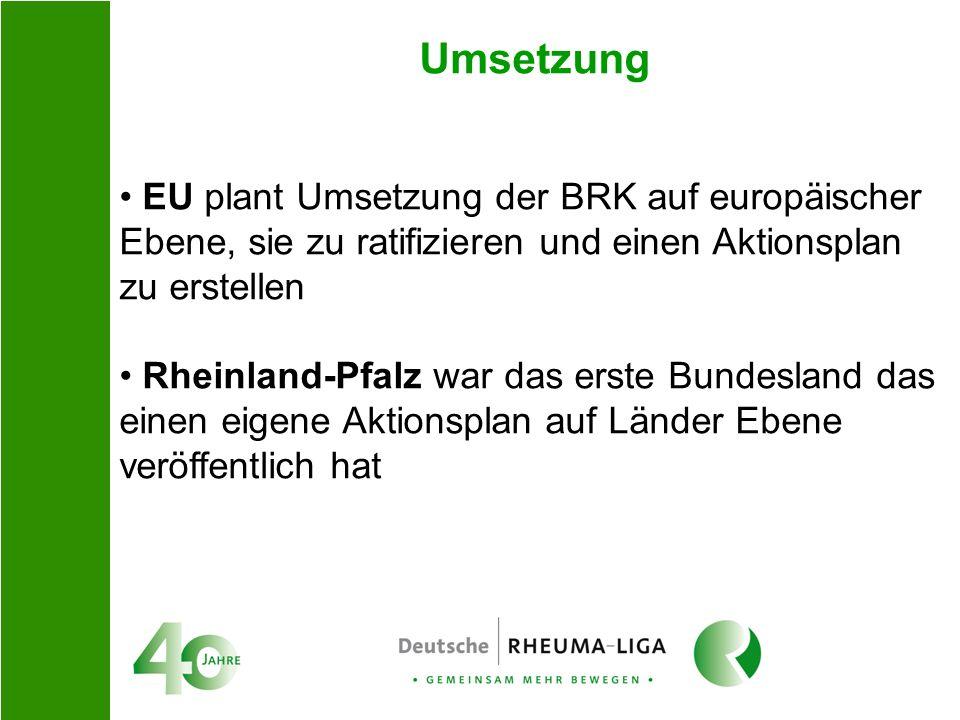 Umsetzung EU plant Umsetzung der BRK auf europäischer Ebene, sie zu ratifizieren und einen Aktionsplan zu erstellen.