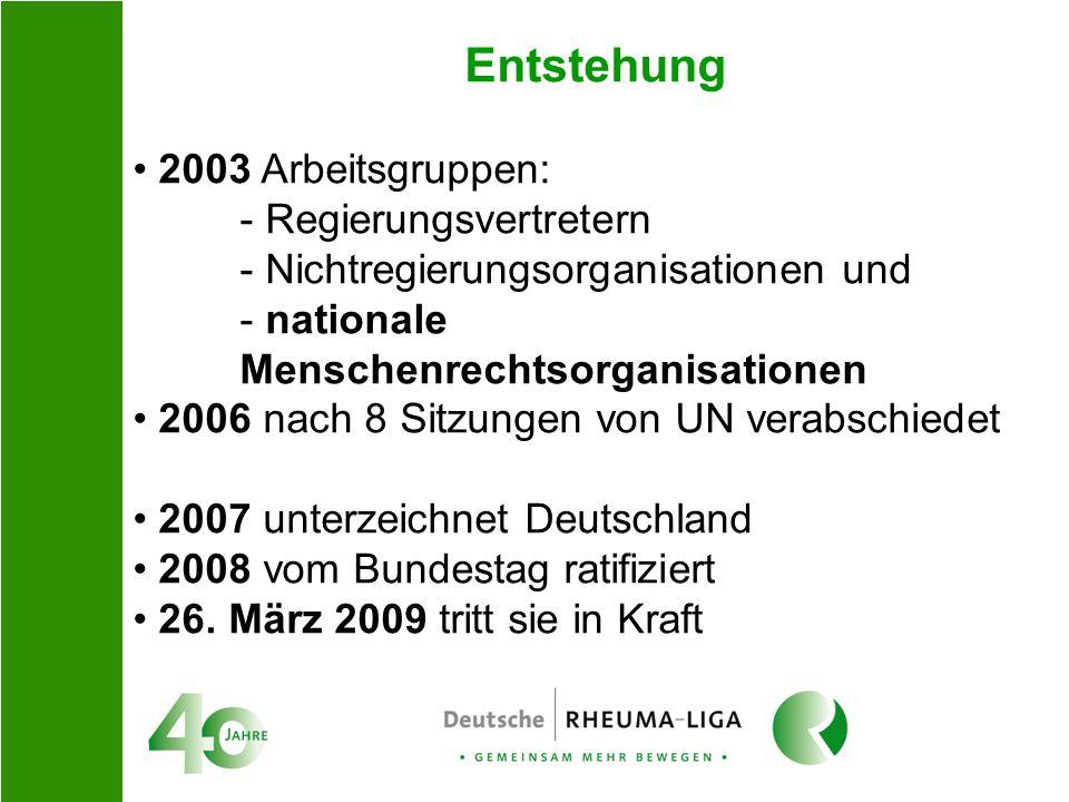 Entstehung 2003 Arbeitsgruppen: - Regierungsvertretern