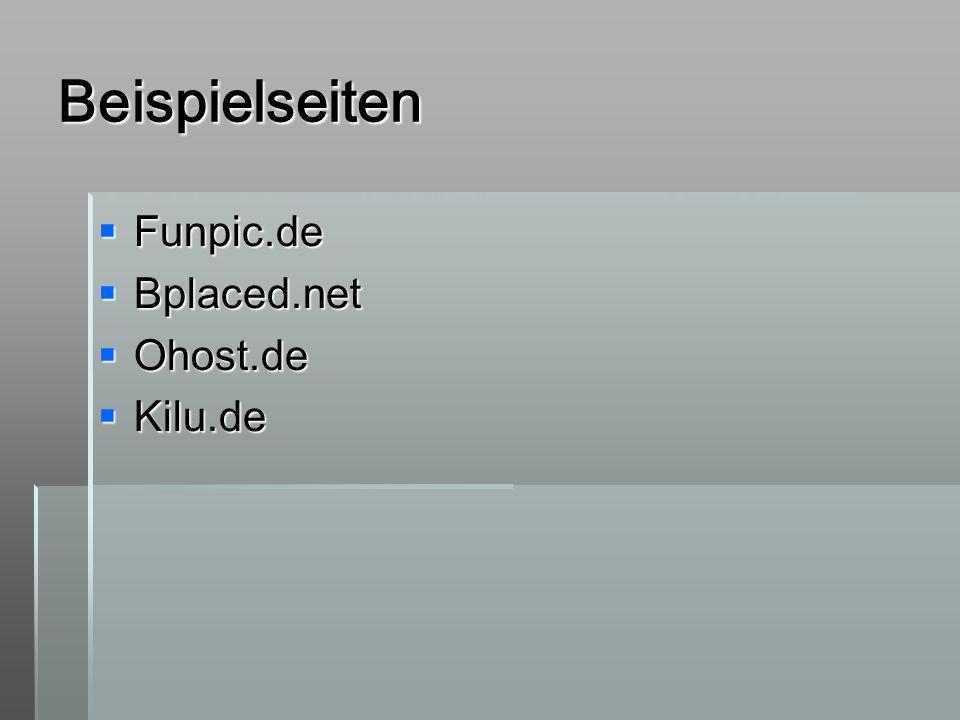 Beispielseiten Funpic.de Bplaced.net Ohost.de Kilu.de