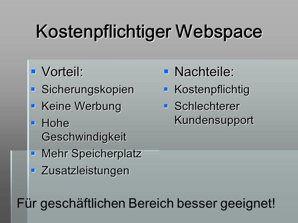 Kostenpflichtiger Webspace