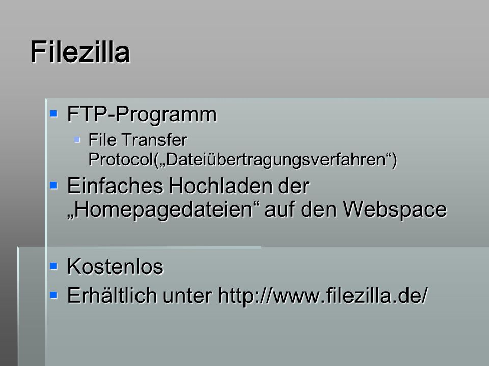 Filezilla FTP-Programm