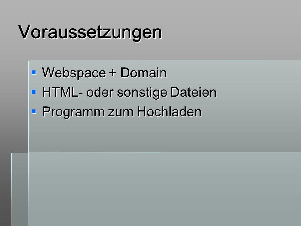 Voraussetzungen Webspace + Domain HTML- oder sonstige Dateien