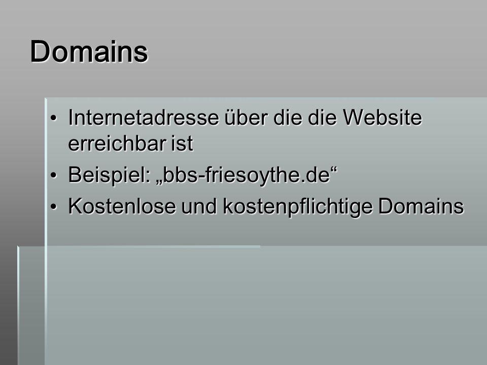 Domains Internetadresse über die die Website erreichbar ist