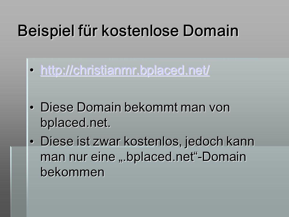 Beispiel für kostenlose Domain