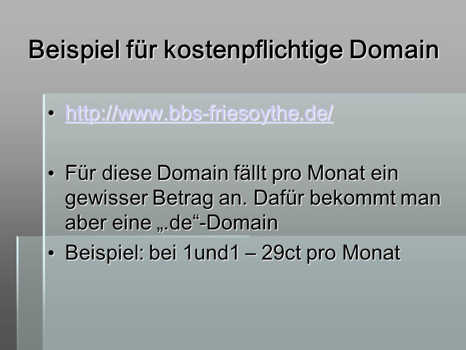 Beispiel für kostenpflichtige Domain