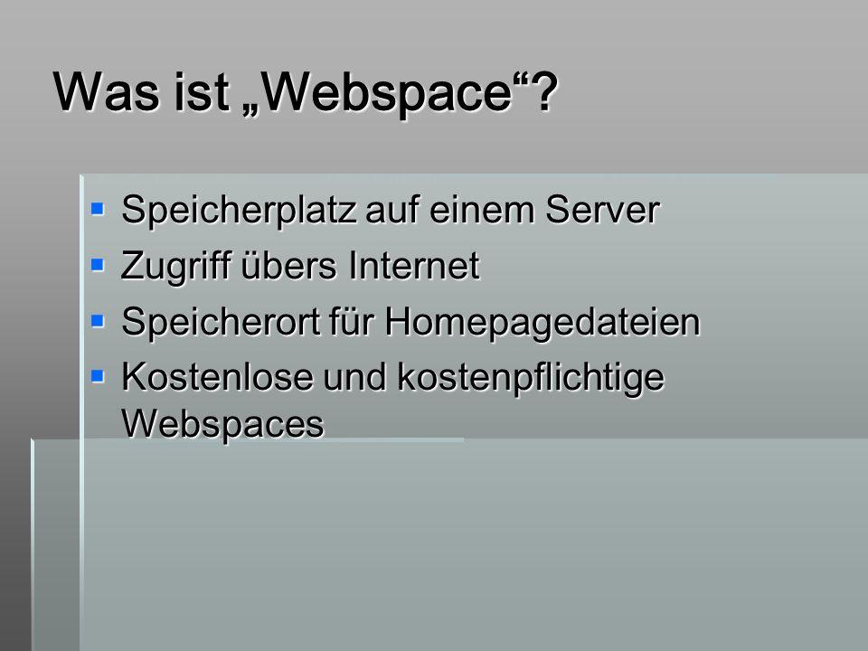 """Was ist """"Webspace Speicherplatz auf einem Server"""