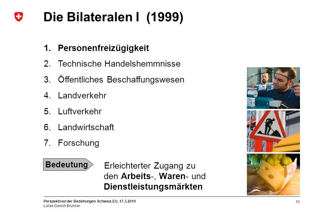 Die Bilateralen I (1999) Personenfreizügigkeit