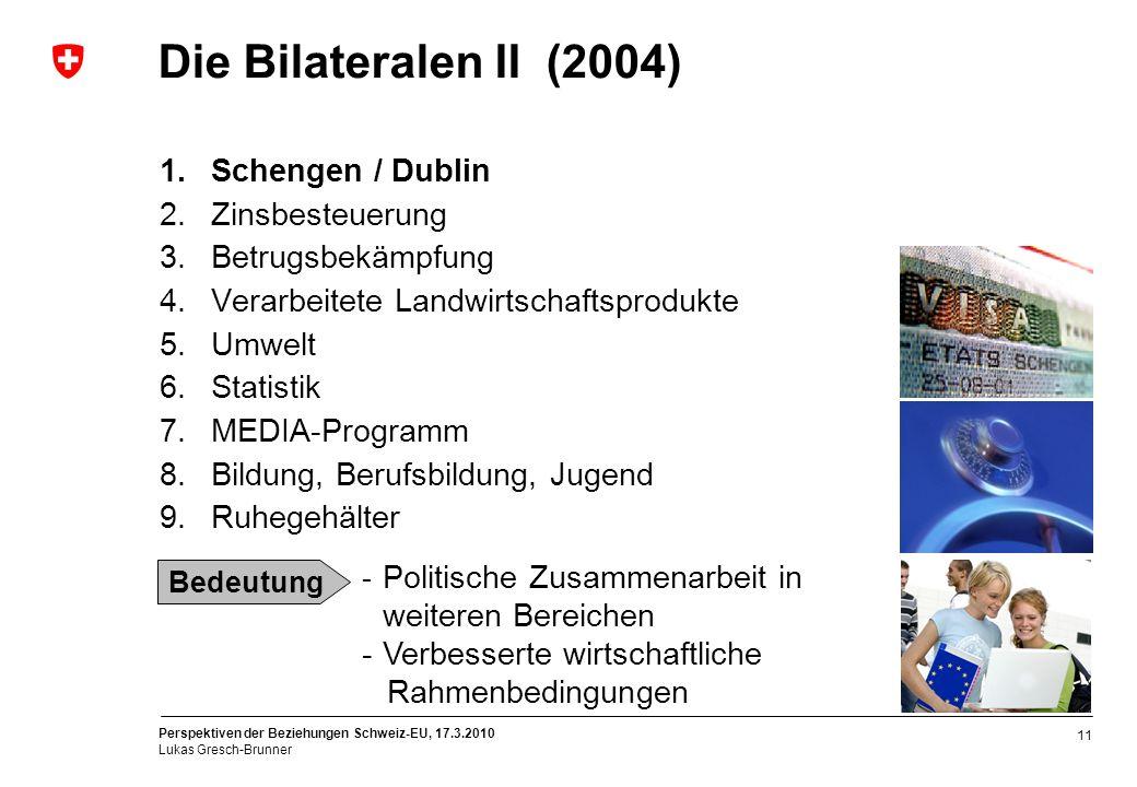 Die Bilateralen II (2004) Schengen / Dublin Zinsbesteuerung