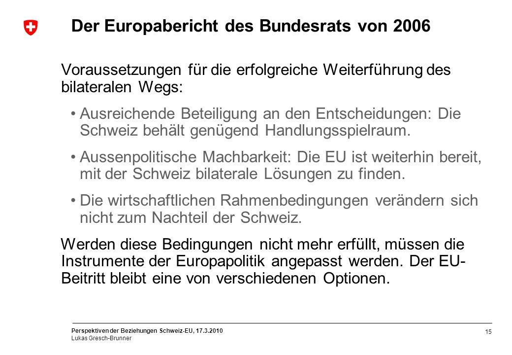 Der Europabericht des Bundesrats von 2006