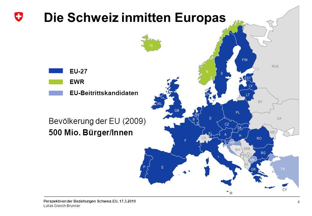 Die Schweiz inmitten Europas