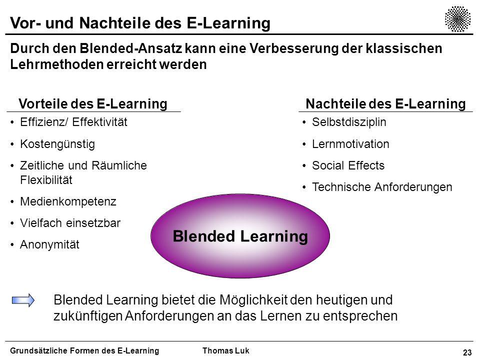 Vorteile des E-Learning Nachteile des E-Learning