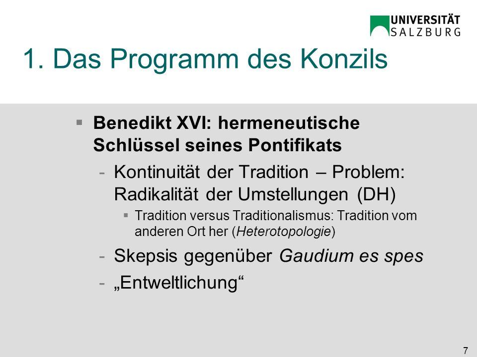 1. Das Programm des Konzils
