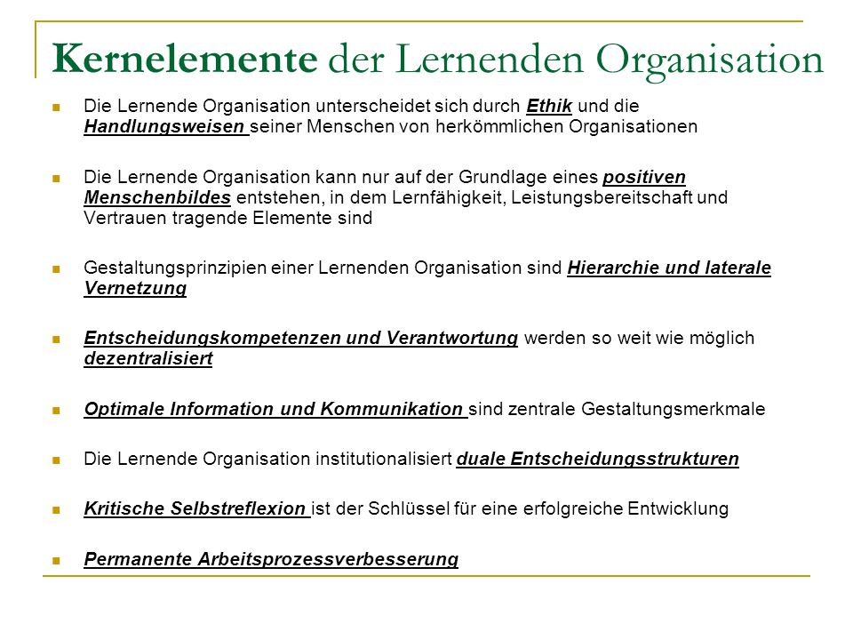 Kernelemente der Lernenden Organisation