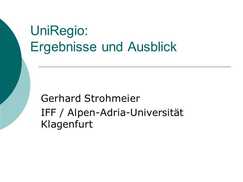 UniRegio: Ergebnisse und Ausblick