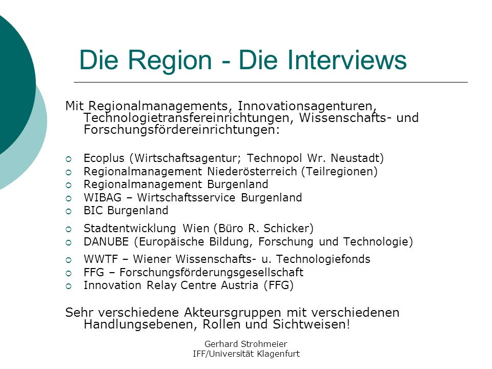 Die Region - Die Interviews