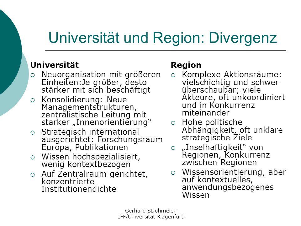 Universität und Region: Divergenz