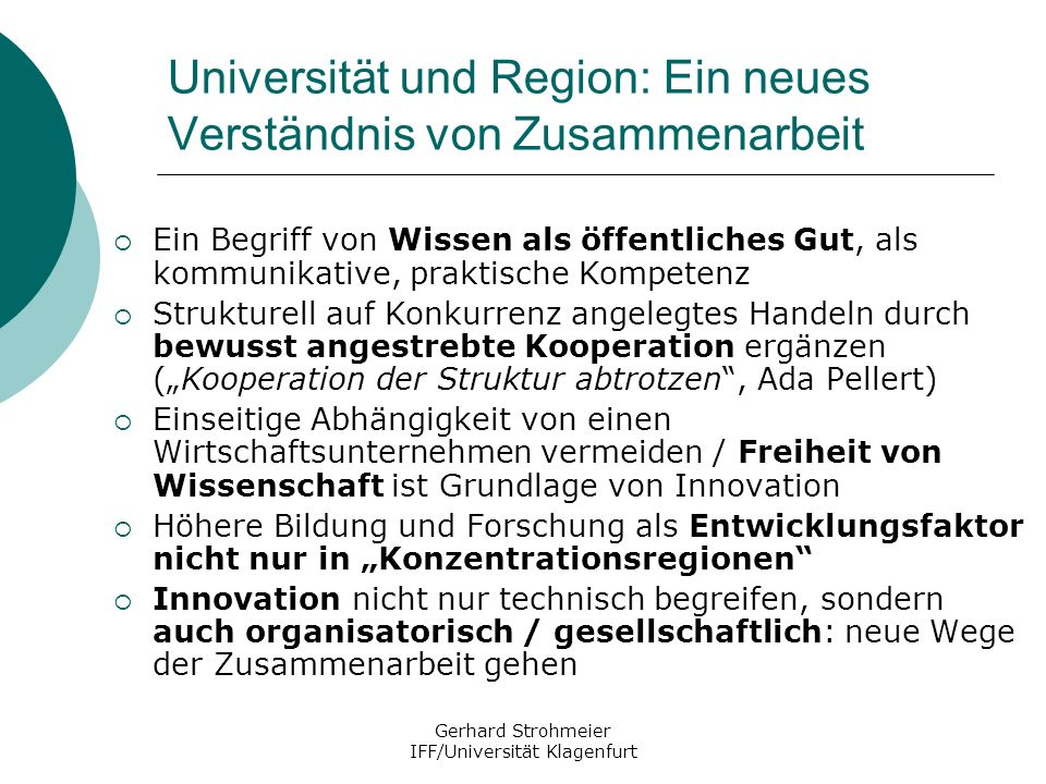 Universität und Region: Ein neues Verständnis von Zusammenarbeit