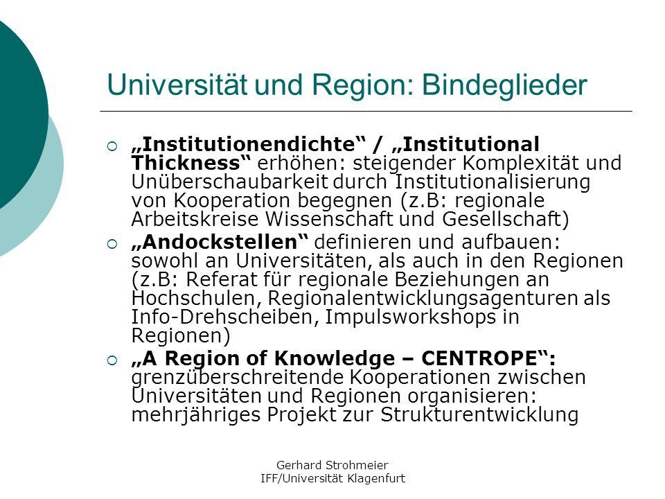 Universität und Region: Bindeglieder