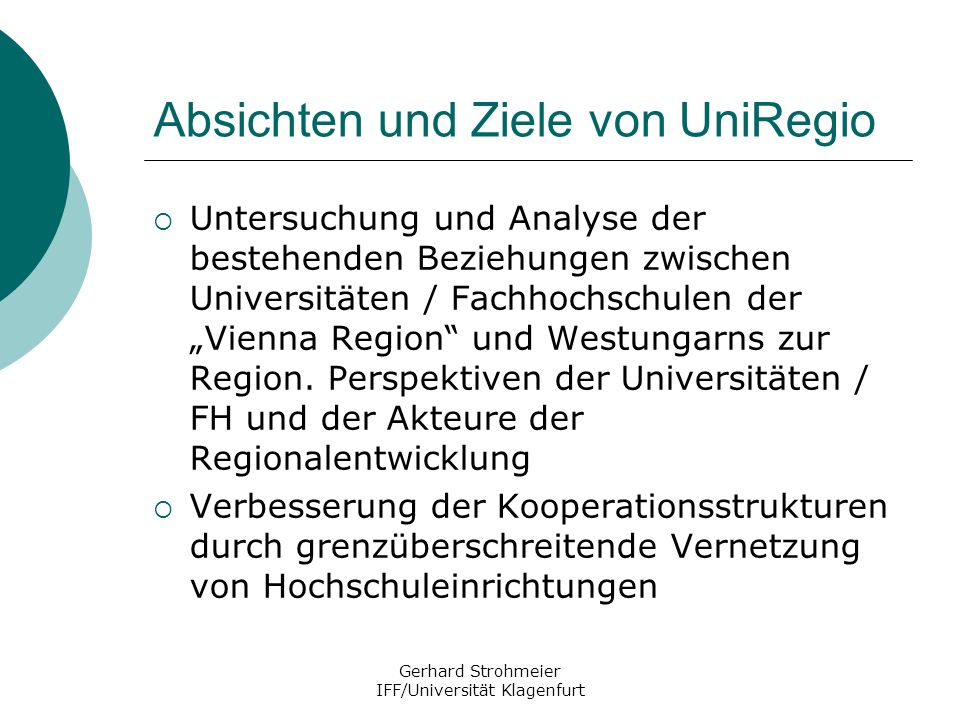 Absichten und Ziele von UniRegio