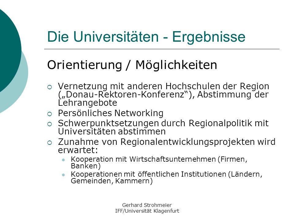 Die Universitäten - Ergebnisse