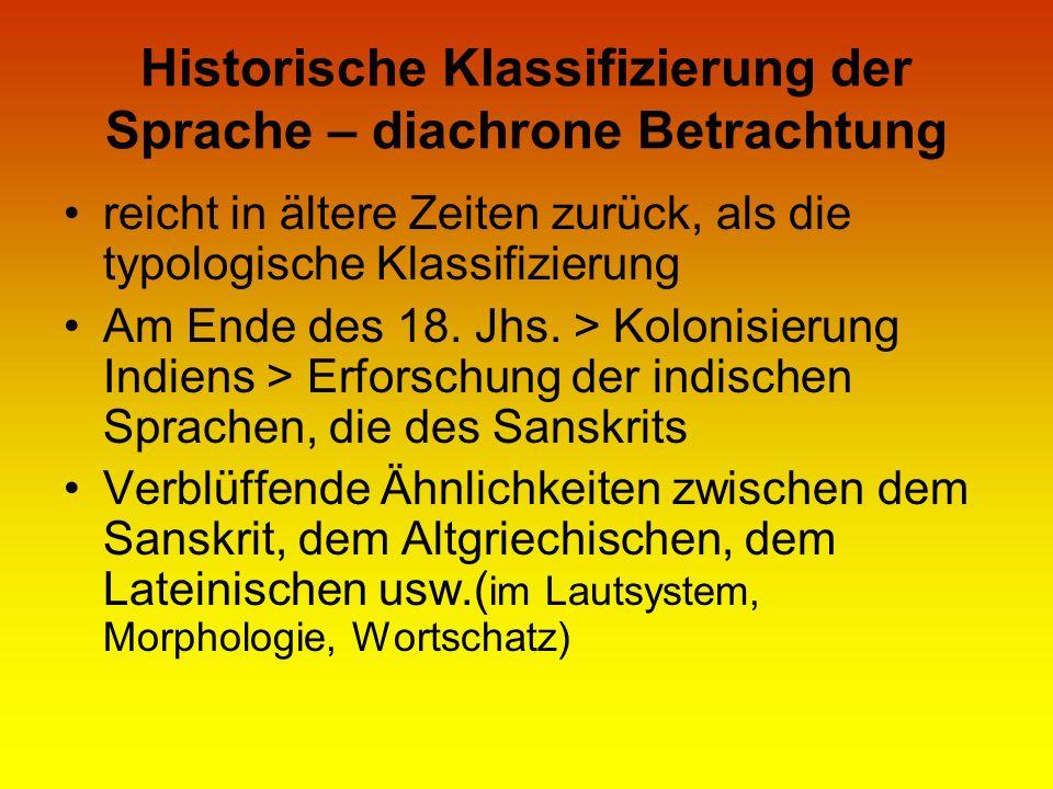 Historische Klassifizierung der Sprache – diachrone Betrachtung