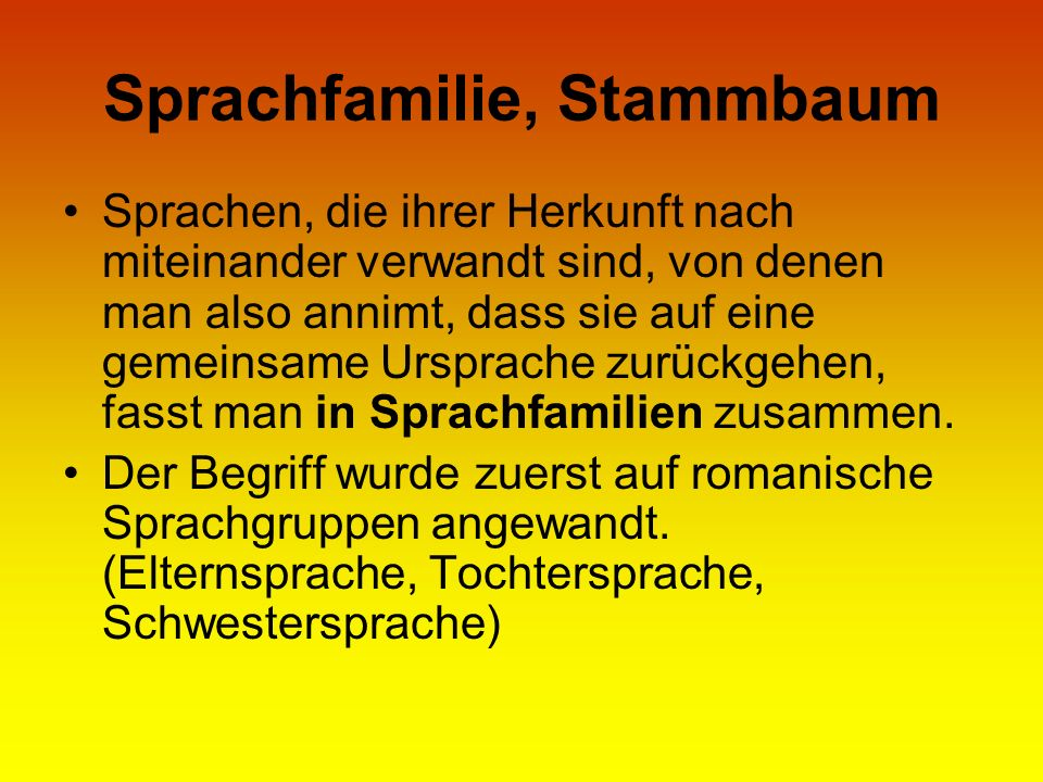 Sprachfamilie, Stammbaum